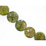 Green Cracked Agate - Faceted Disc - 25mm